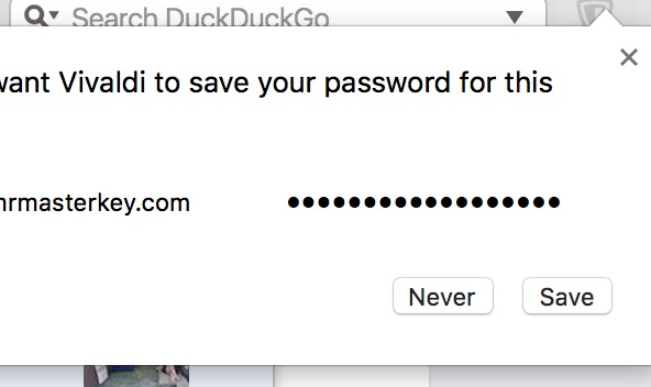 Screenshot of Vivaldi asking whether to save a password