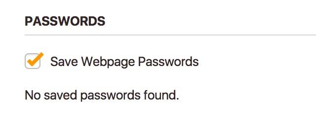 Screenshot of Vivaldi not having saved any passwords